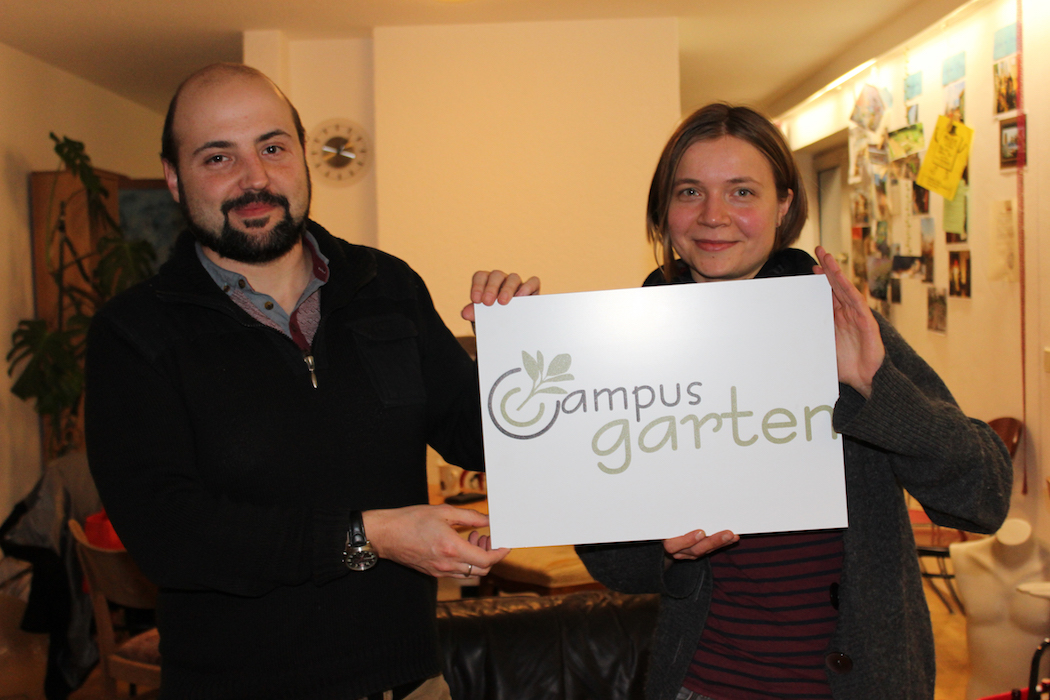 Pascal Bunk und Wiebke Degler vom Campus-Garten-Team. Foto: Lena Köster