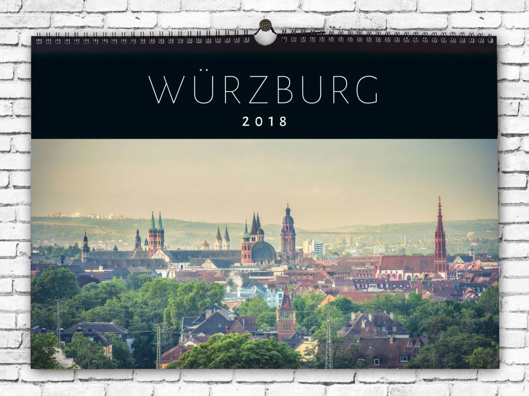 Der Würzburg-Kalender 2018 – erhältlich im WüShop oder im Wohnforum citystore in der Spiegelstraße. Grafik: Dominik Ziegler