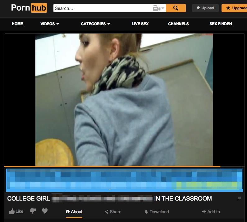 Amateur Porno an der Uni Würzburg auf der Plattform Pornhub – Screenshot Pornhub