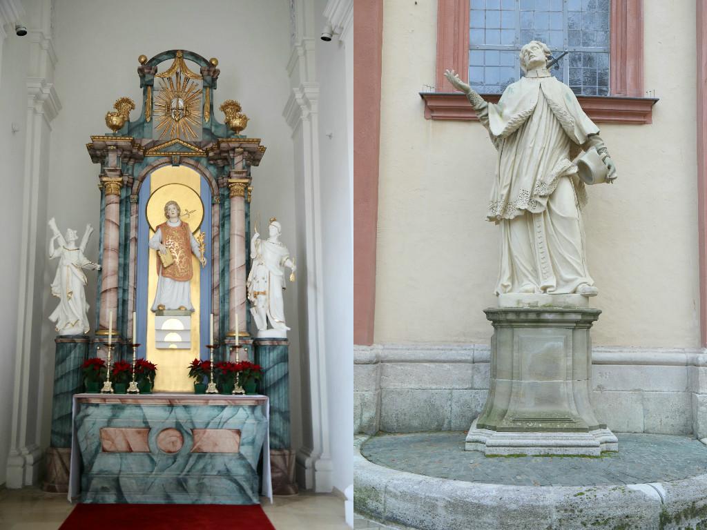 links: Dem heiligen Aquilin wurde in der Pfarrkirche Sankt Peter und Paul ein eigener Altar gewidmet. rechts: Rechts vor dem Haupteingang der Pfarrkirche Sankt Peter und Paul steht die 1728 geschaffene Figur des heiligen Aquilin. – Fotos: Bernadette Weimer (POW)