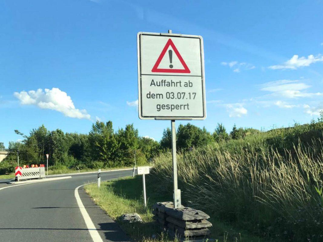 Die Auffahrt B19 bei Estenfeld ist ab dem 3.Juli gesperrt! Foto: Marco Kurre