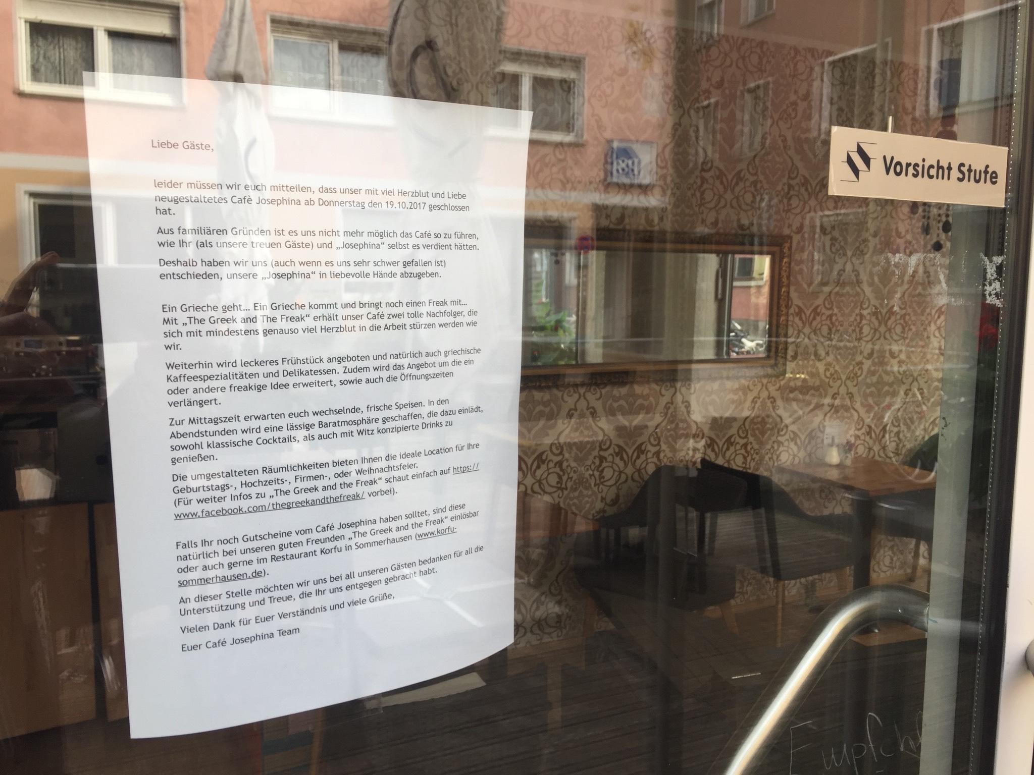 Café Josephina: Ab heute geschlossen. Foto: Katharina Kraus
