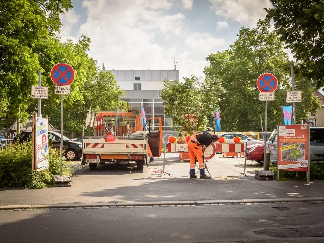 Der gesperrte Kardinal-Faulhaber-Platz. Foto: Pascal Höfig