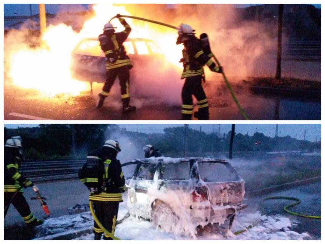 Das Fahrzeug brannte vollständig aus. Foto: Freiwillige Feuerwehr Ochsenfurt