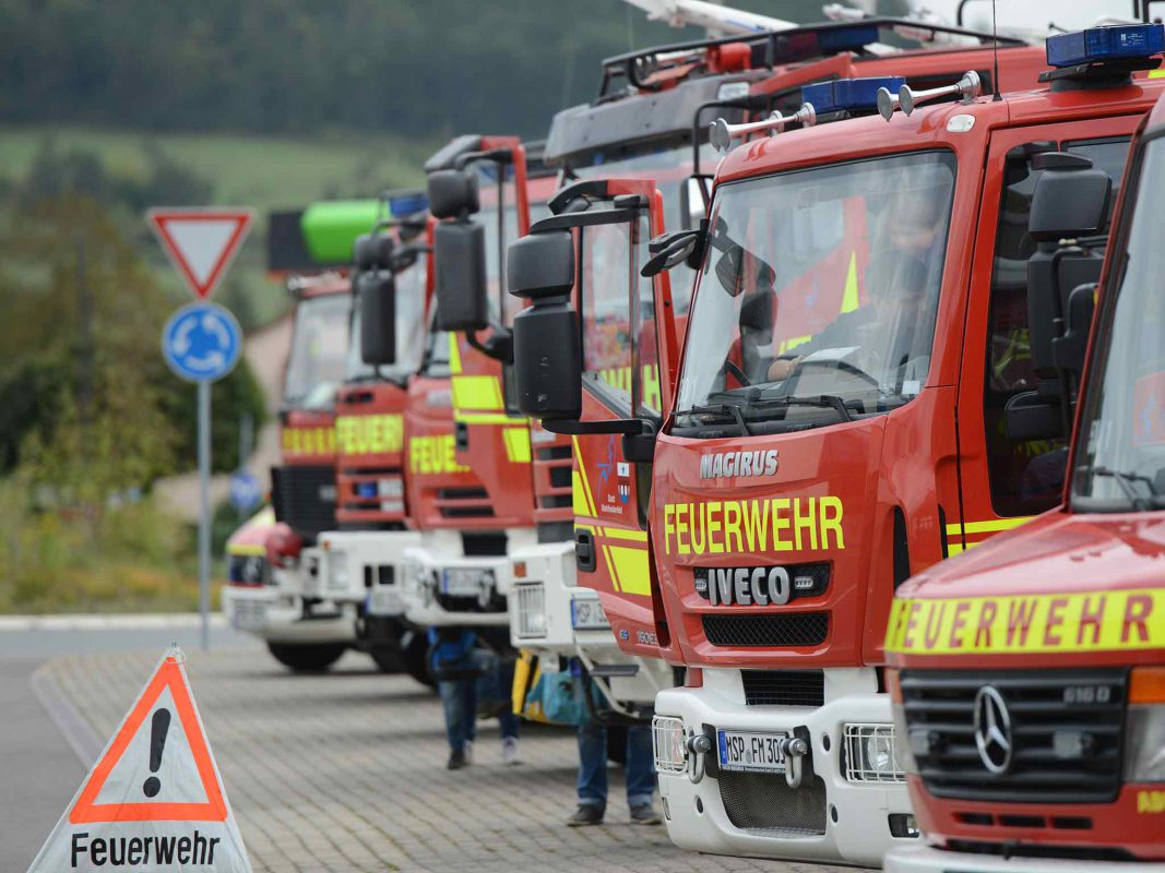 Die Fahrzeuge der Freiwilligen Feuerwehr Marktheidenfeld. Foto: Benedict Rottmann/Freiwillige Feuerwehr Marktheidenfeld