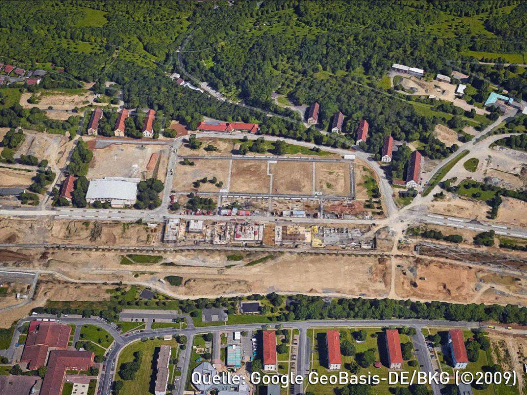 """Grundstücke """"Quartier III"""" am Hubland Würzburg. Quelle: Google GeoBasis-DE/BKG (©2009)"""
