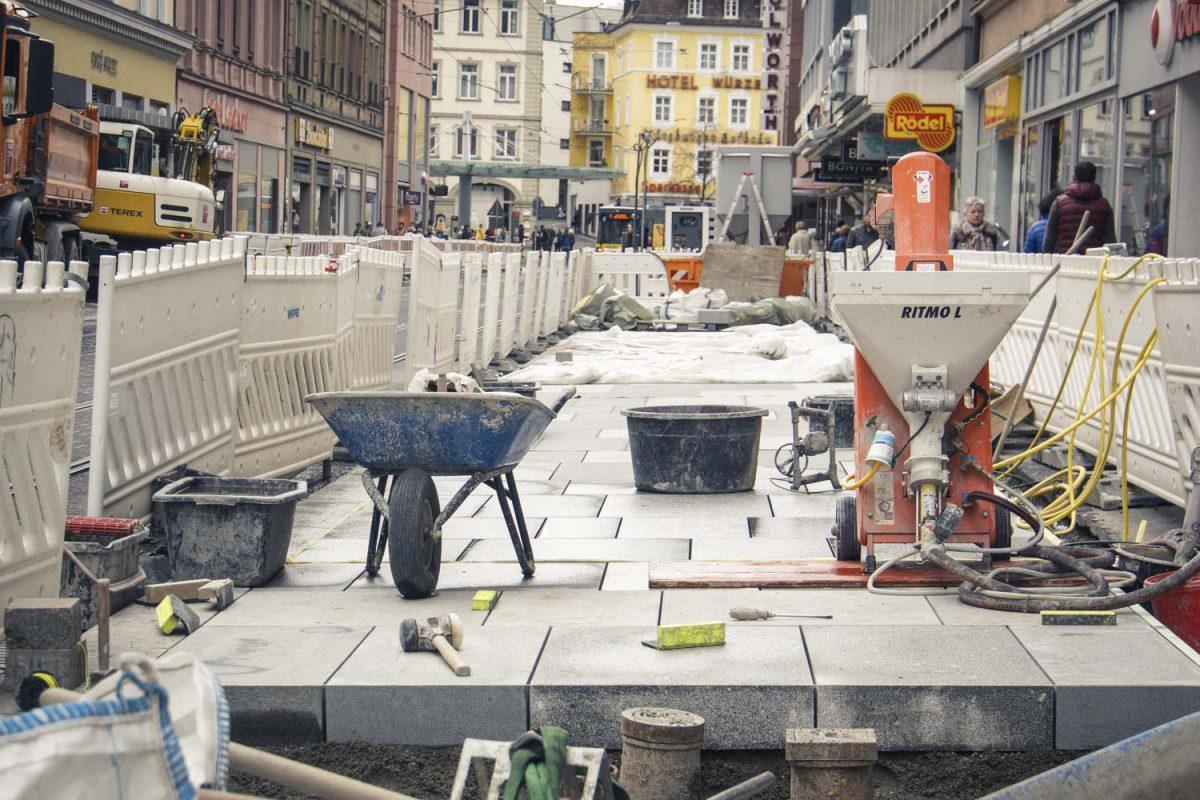 Sanierung der Kaiserstraße Würzburg. Foto: Dominik Ziegler