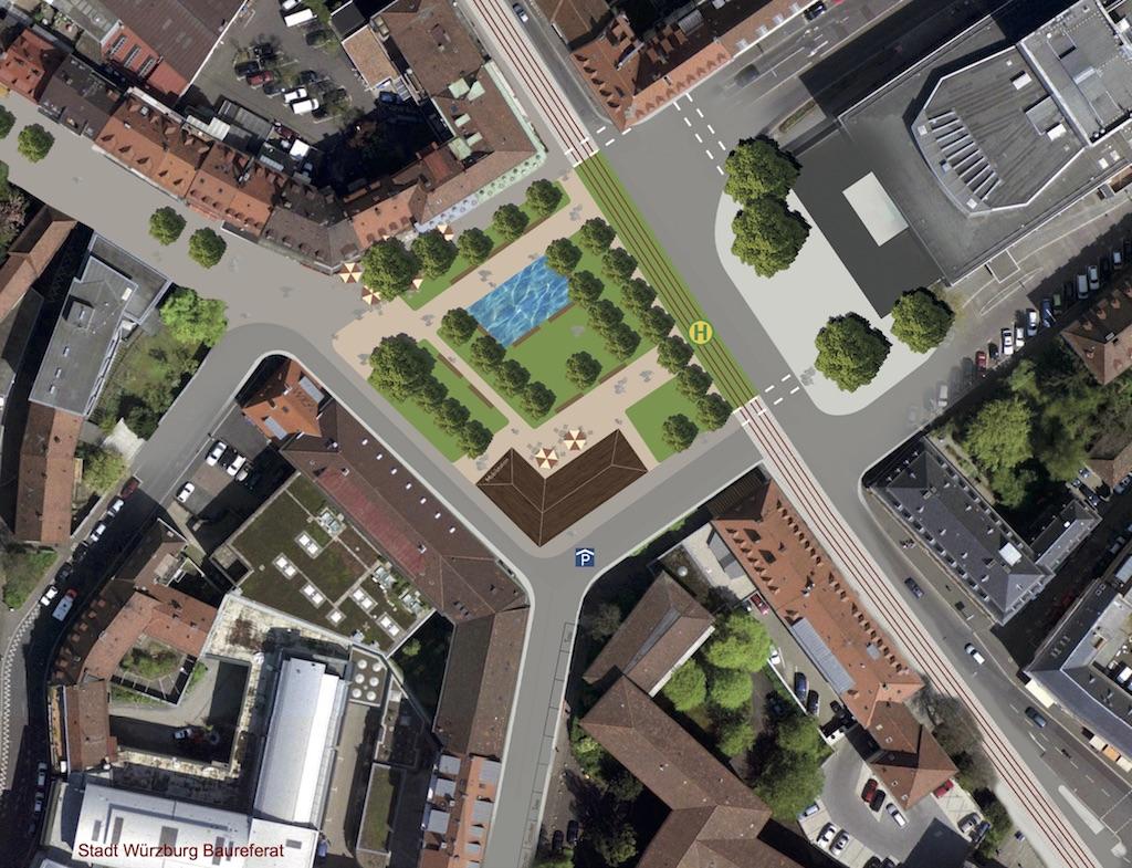 So soll der Kardinal-Faulhaber-Platz nach Wünschen der Stadt aussehen. Grafik: Stadt Würzburg