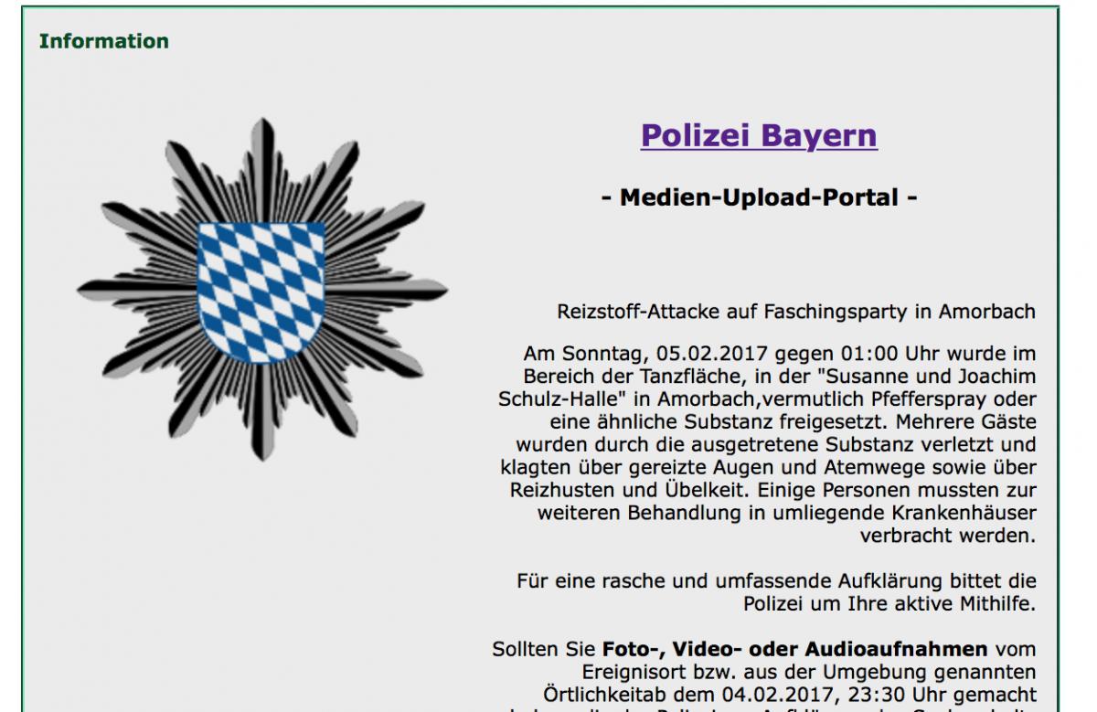 Medienupload-Portal der Polizei - Screenshot: Polizei Bayern