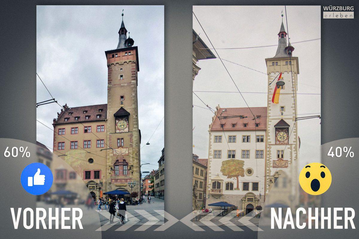 So gefällt der alte und der neue Anstrich des Grafeneckarts den Würzburg erleben-Fans. Fotomontage: Dominik Ziegler I Foto links: Wolfgang Brieden