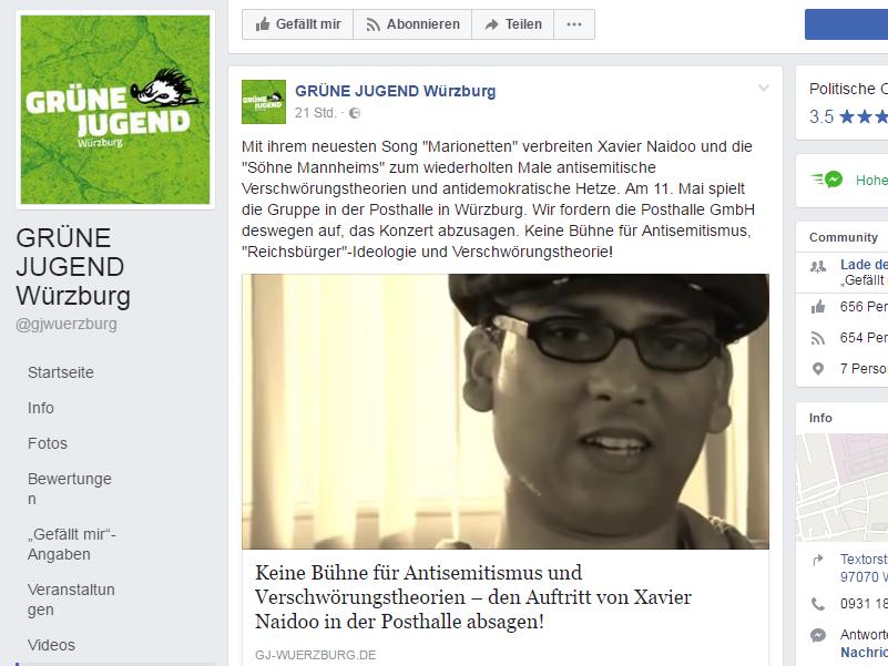 Forderung der Grünen Jugend Würzburg auf ihrer Facebookseite. Screenshot: www.facebook.com/gjwuerzburg/