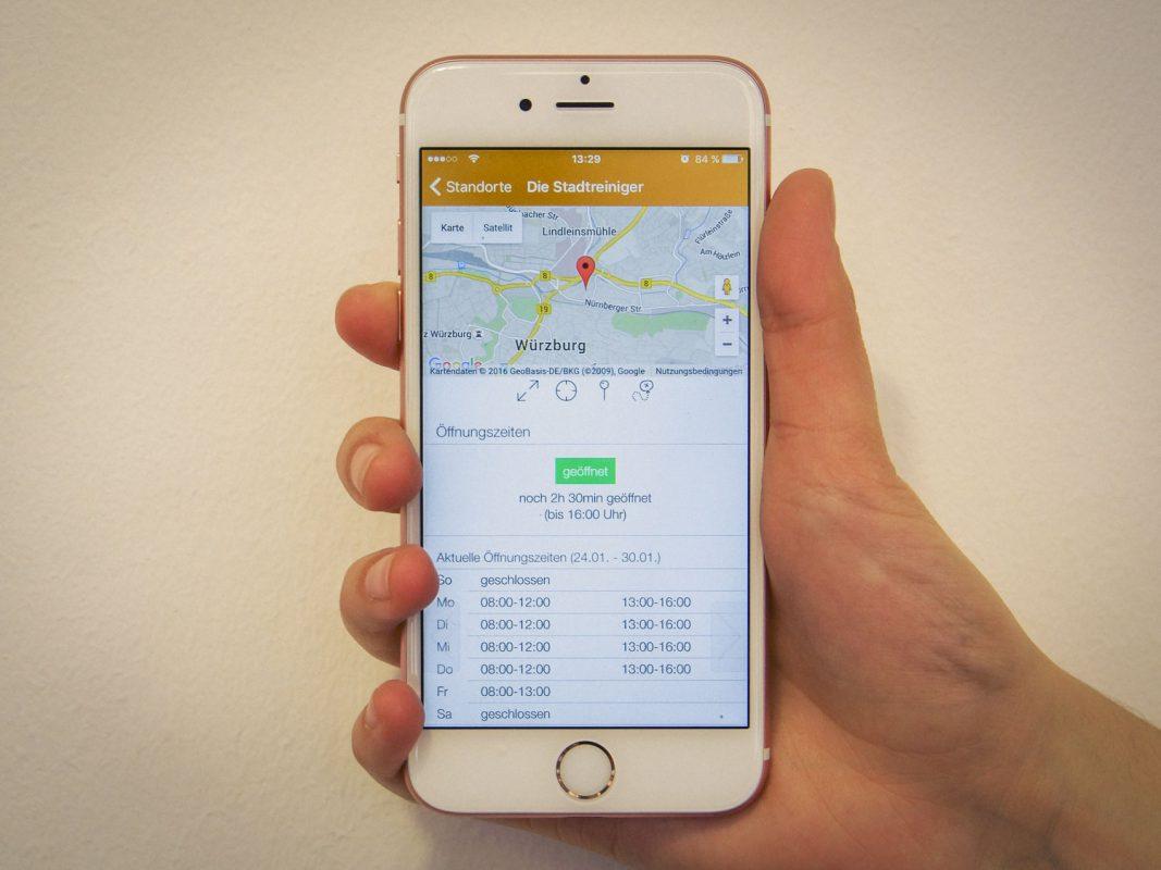 Die Stadtreiniger-App versorgt den Nutzer mit allen wichtigen Informationen rund um die Müllentsorgung. Foto: Dominik Ziegler