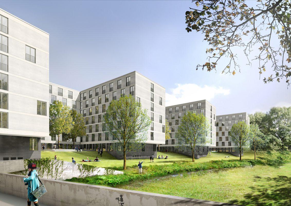 Das Studentenwohnheim 522 Apartunities in direkter Nähe zur Innenstadt. Grafik Südansicht: Bader Wohnbau GmbH