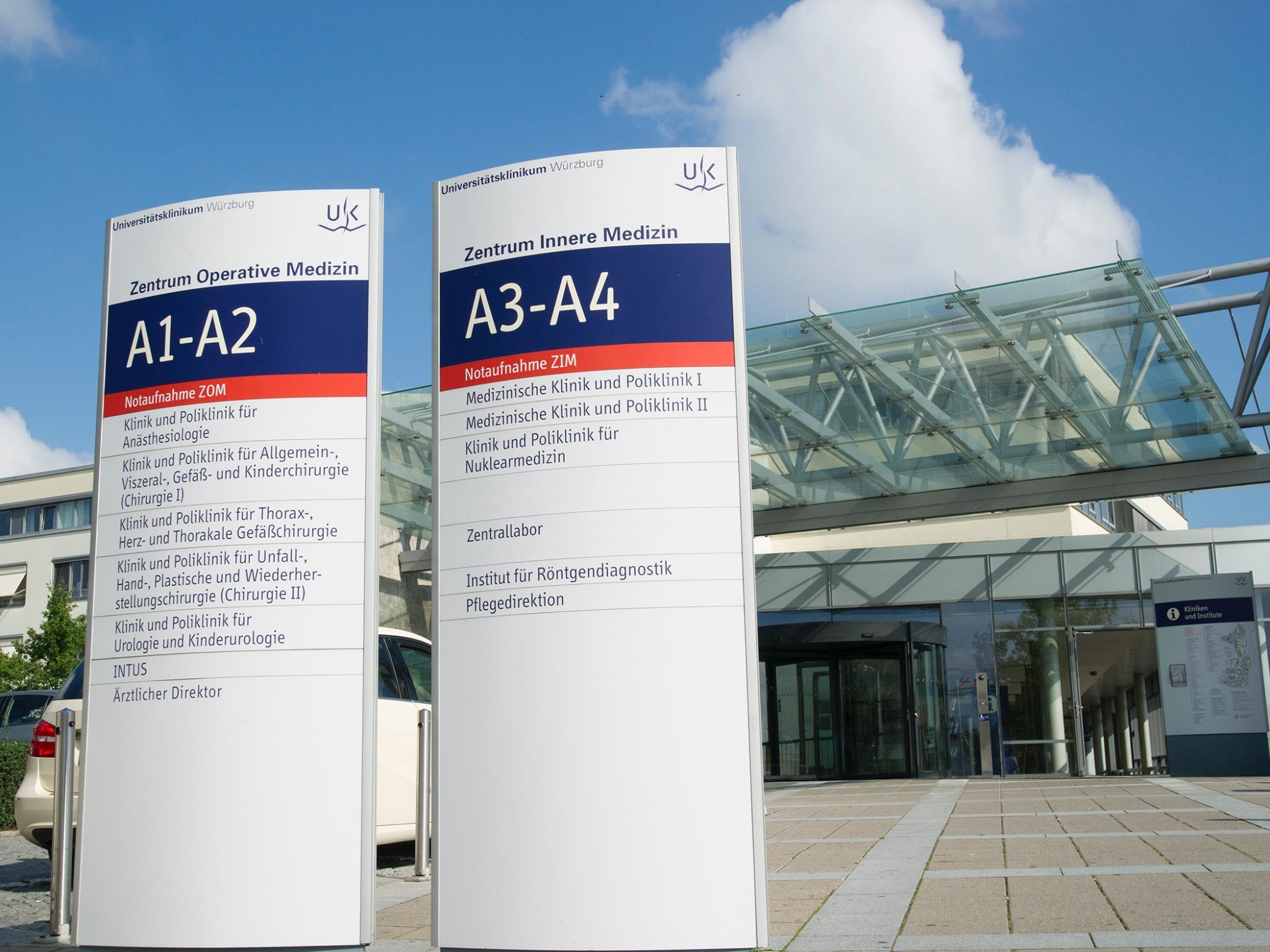 Eingang von ZIM und ZOM der Uniklinik Würzburg. Foto: Universitätsklinikum Würzburg