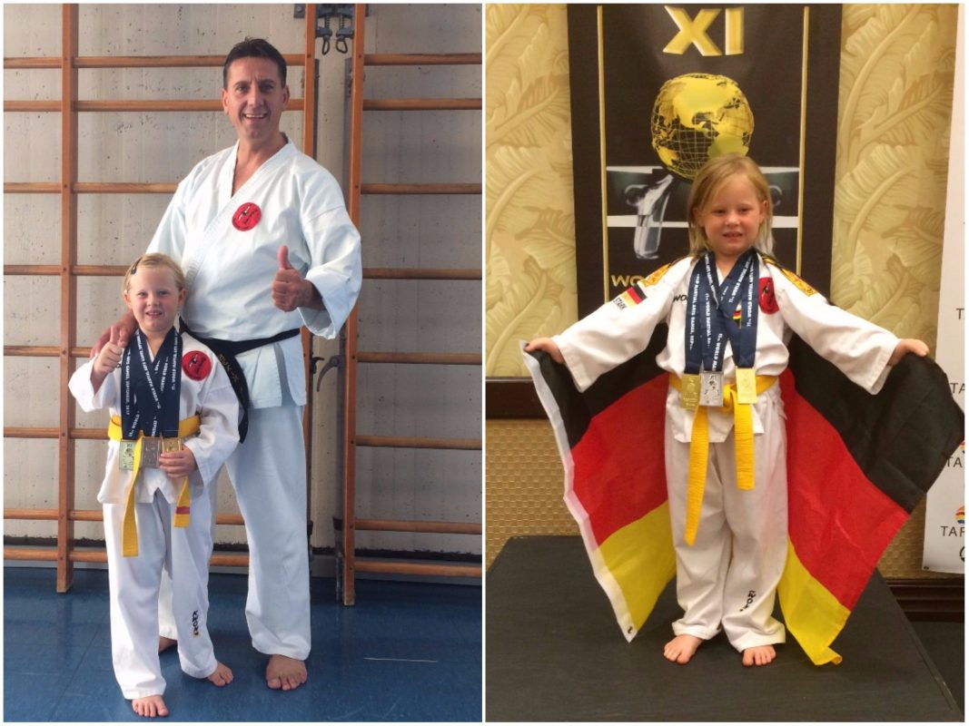 Kleine Hanna ganz groß bei der Martial Arts Weltmeisterschaft in Orlando. Foto: Helmut Stark