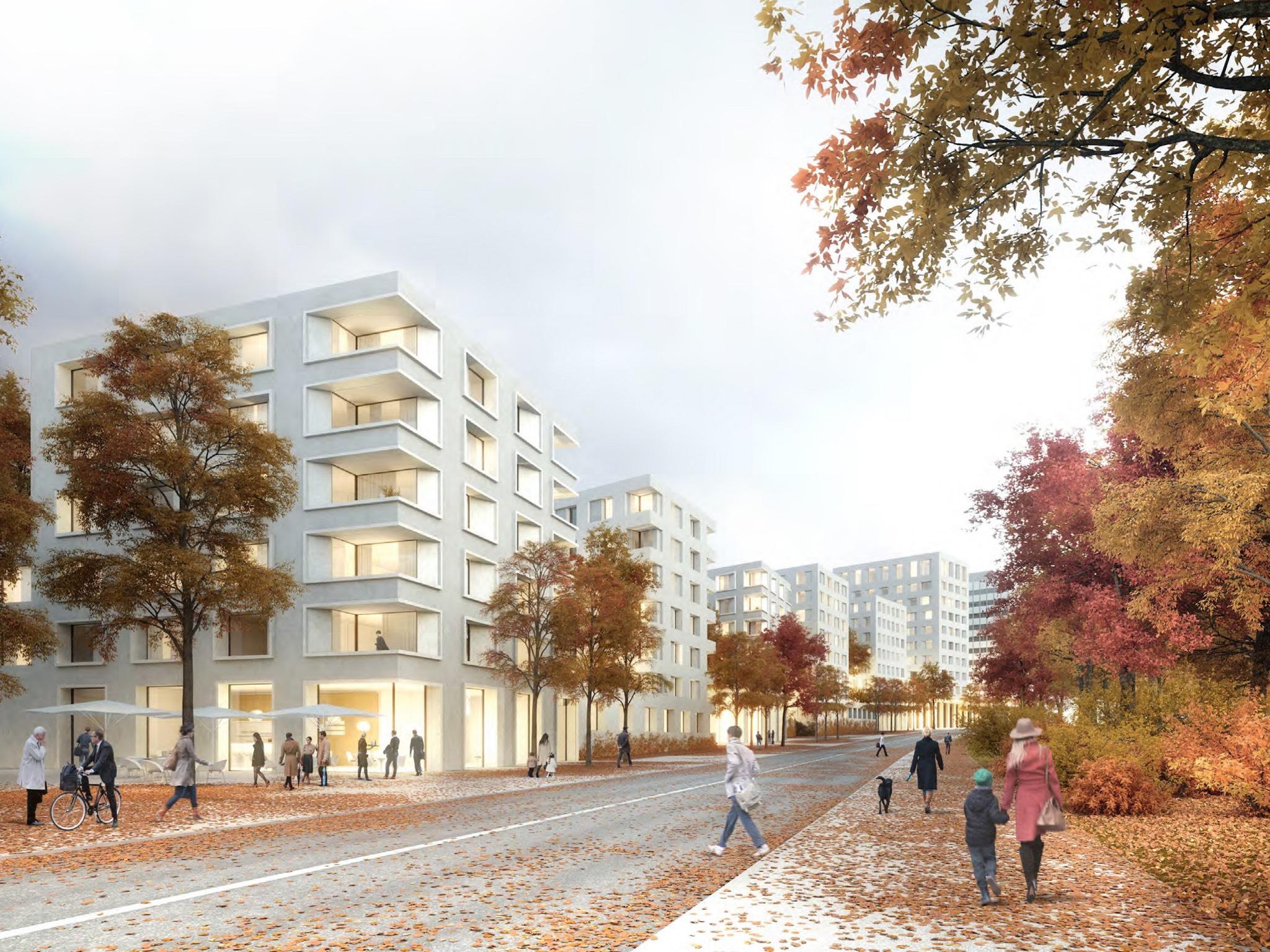 Perspektive Bismarckquartier: Vorschlag von Baumschlager Eberle. Grafik: Baumschlager Eberle