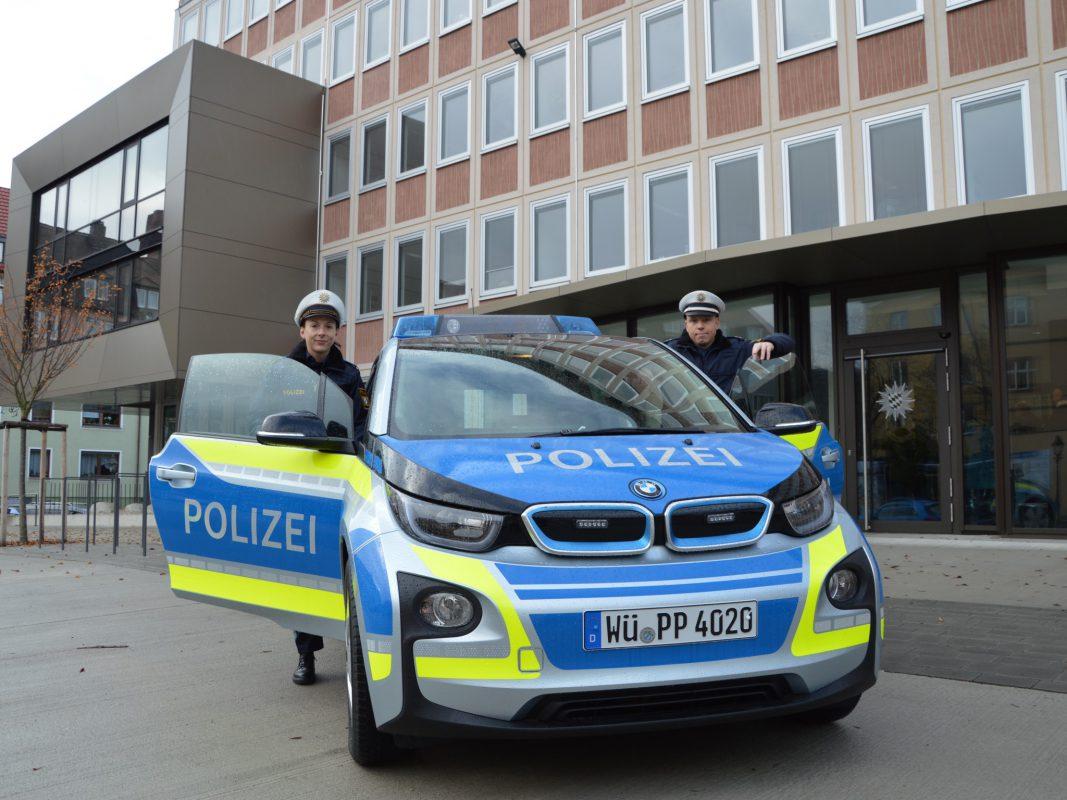 Erster E-Streifenwagen in Unterfranken. Foto: Polizei