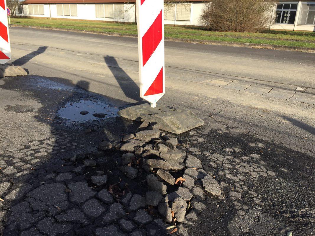 Erhebliche Straßenschäden am Hubland Campus Nord. Foto: LHG Würzburg