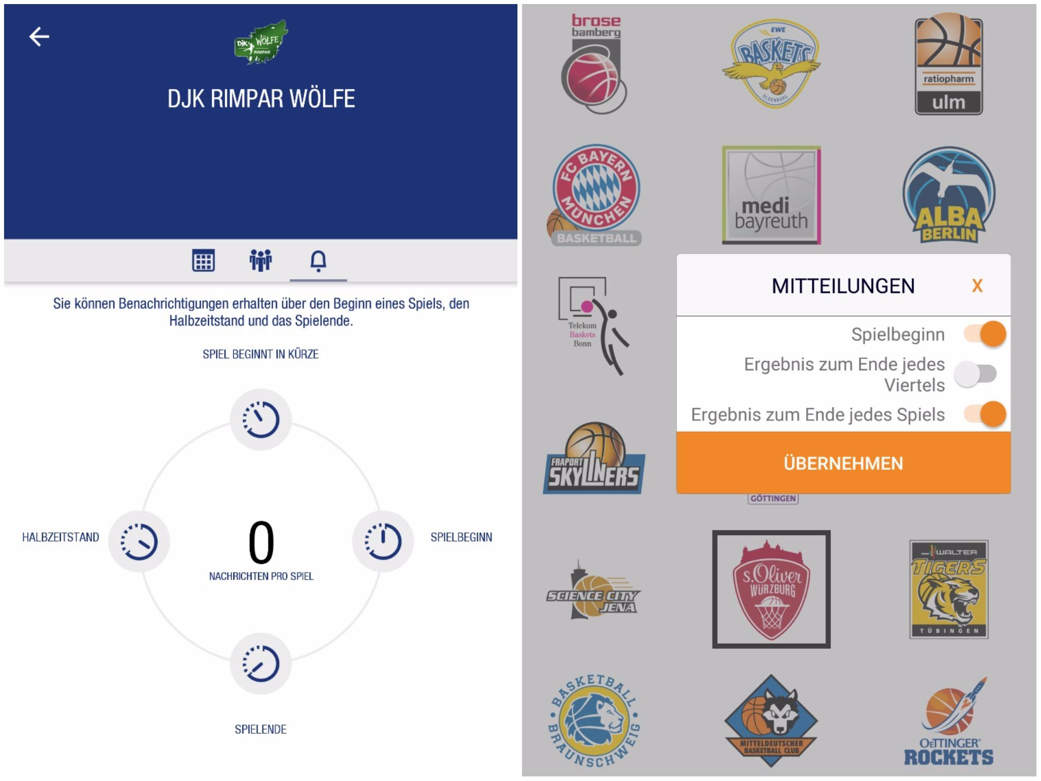 Aktuelle Sportnachrichten erhält man weiterhin über die entsprechende App. Screenshot: DKB HBL App/ BBL App
