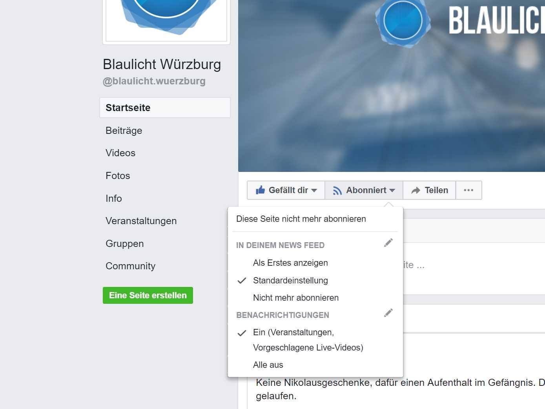 Benachrichtigungen auf Facebook einstellen. Screenshot: www.fb.com