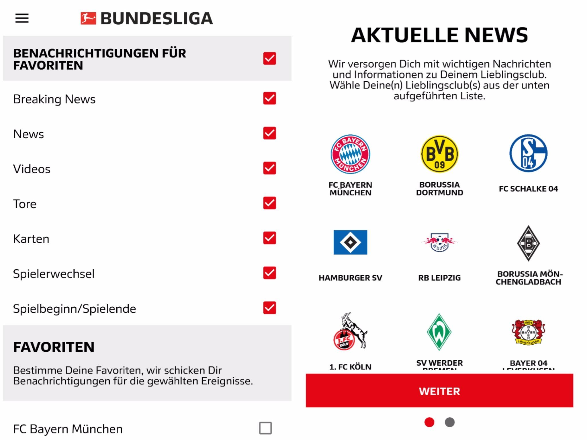 Aktuelle Fußballnachrichten erhält man weiterhin über die Bundesliga App. Screenshot: Bundesliga App