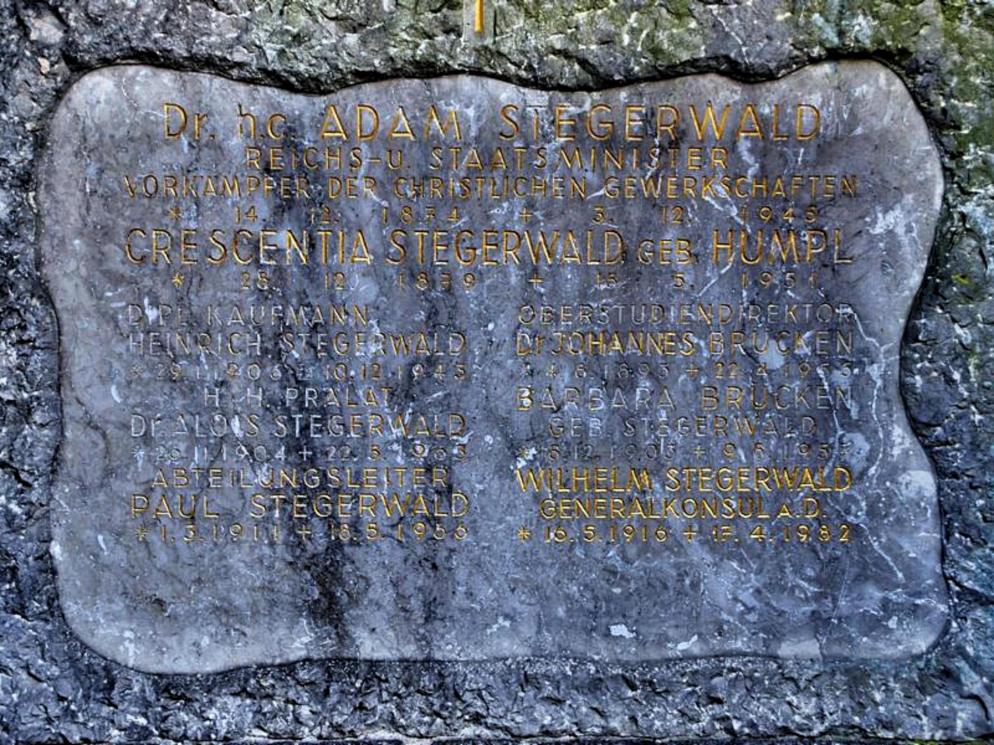 Das Grab von Adam Stegerwald. Foto: Archiv Willi Dürrnagel
