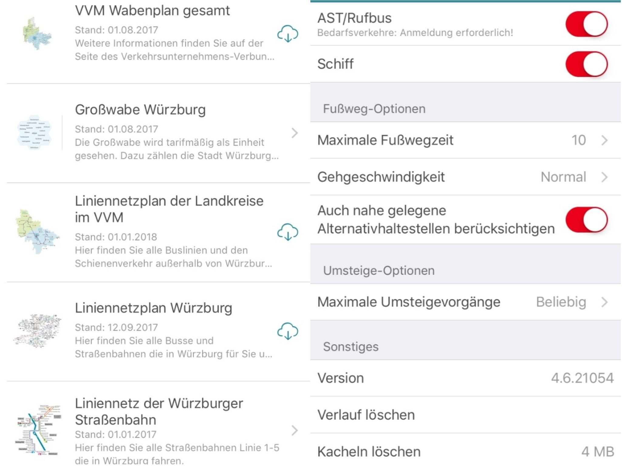 Die Netzpläne sowie die Einstellungen, von der Gehgeschwindigkeit bis zur Anzahl an Umsteigepunkten. Screenshot: VVM App