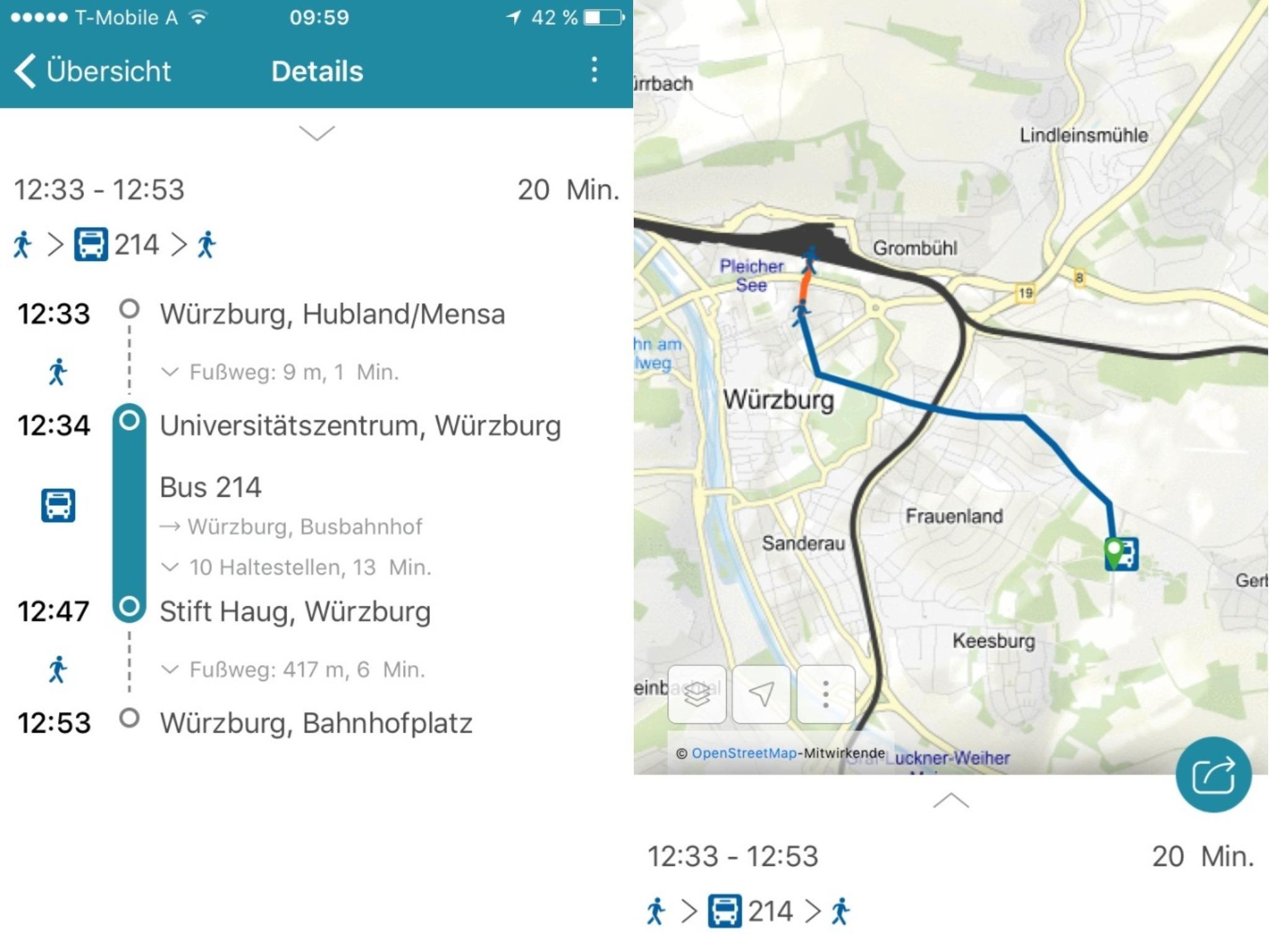 Die Fahrplanauskunft der VVM-App inklusive Kartenansicht. Screenshots: VVM App