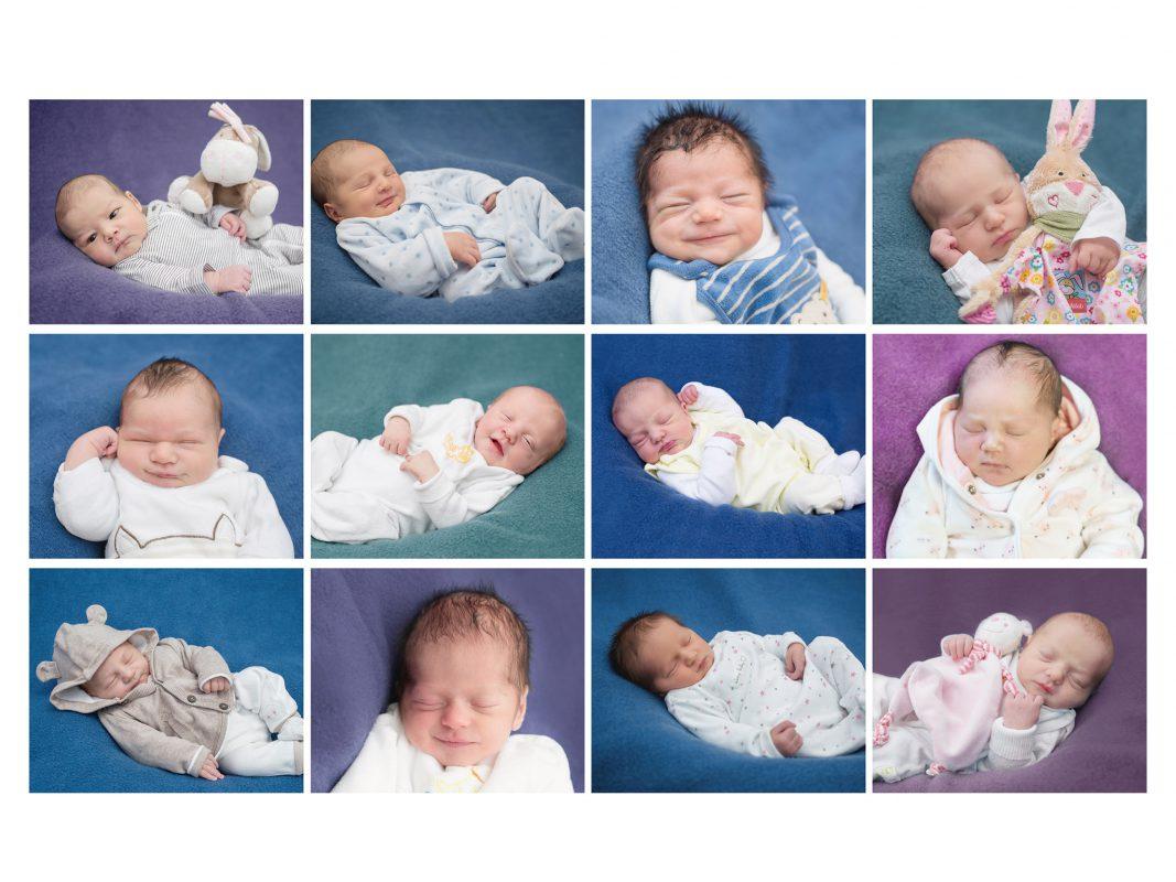 Beispiele aus den an der Universitäts-Frauenklinik 2017 geborenen Kindern. Foto: Wunderkind Photography by SAF / Uniklinikum Würzburg