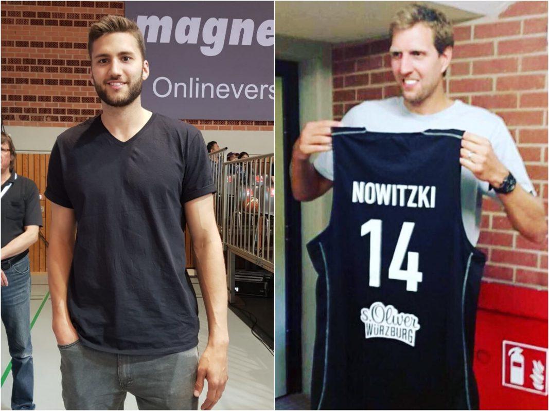 Die beiden Würzburger NBA-Stars Maxi Kleber (links) und Dirk Nowitzki (rechts) bei ihrem jeweiligen Heimatbesuch. Fotos: Frederik Löblein.