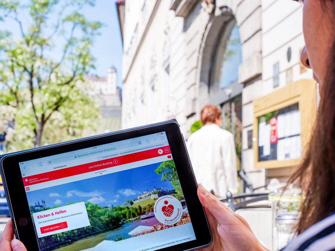 Das Spendenportal der Sparkasse Mainfranken Würzburg: Mit einem Klick regionale Projekte unterstützen. Foto: Pascal Höfig