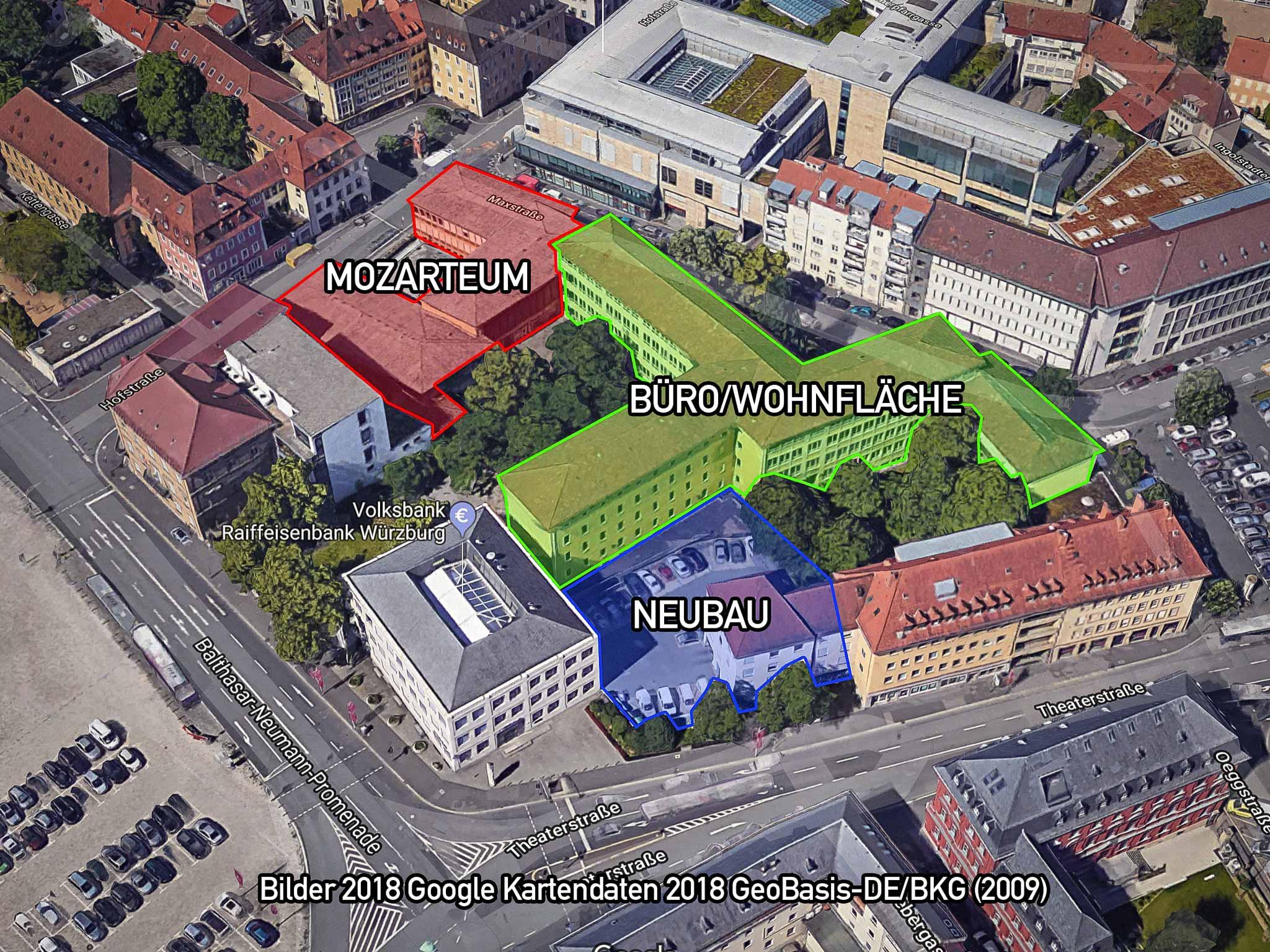 Pläne für das Mozartareal durch den geplanten teilweisen Erwerb durch die VR Bank Würzburg. Quelle: Bilder 2018 Google Kartendaten 2018 GeoBasis-DE/BKG (2009)