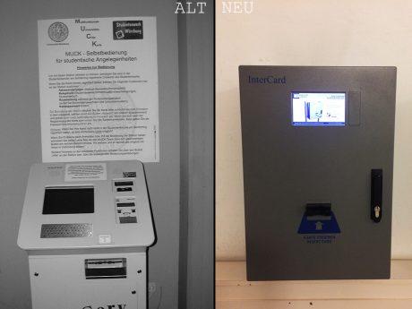 Der damalige Muck-Automat neben dem neuen InterCard-Automaten. Foto: Robert Emmerich/Pressestelle Uni Würzburg