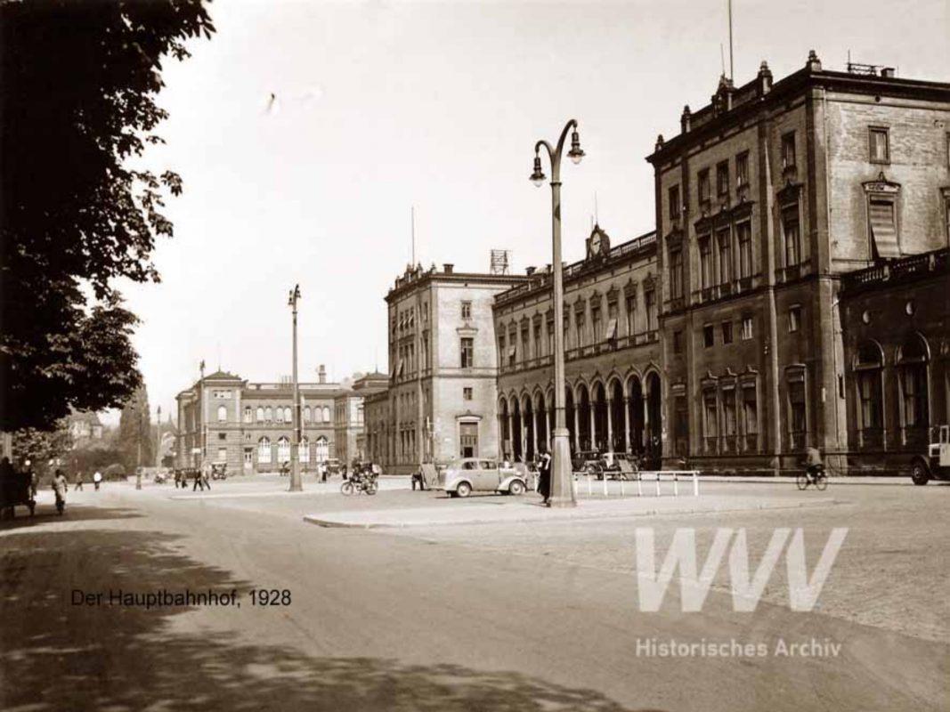 Der Würzburger Hauptbahnhof im Jahr 1928. Quelle: Historisches Archiv der WVV