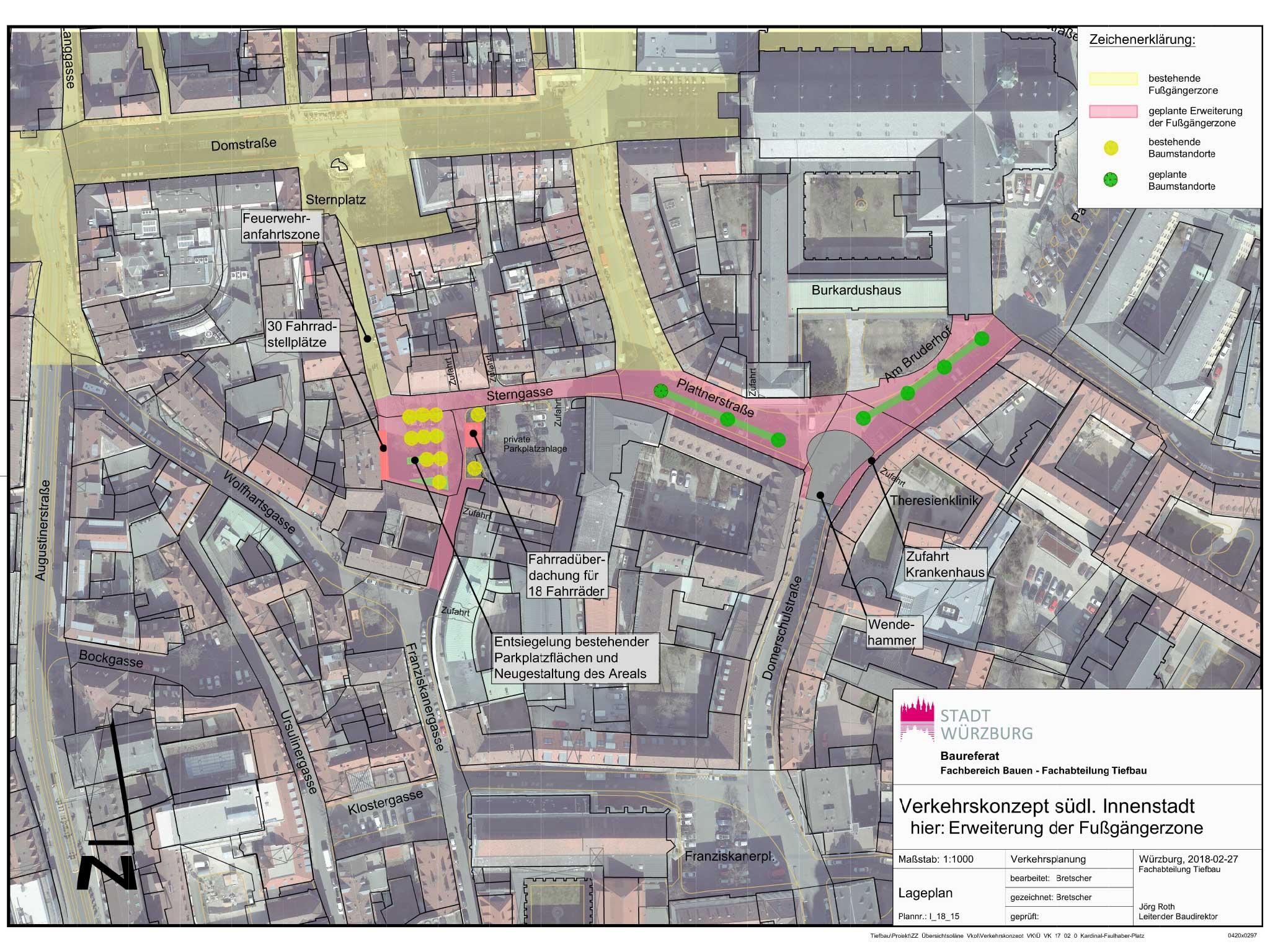 Die Beschlussvorlage der Stadt Würzburg zur Erweiterung der Fußgängerzone. Grafik: Stagt Würzburg / Baureferat