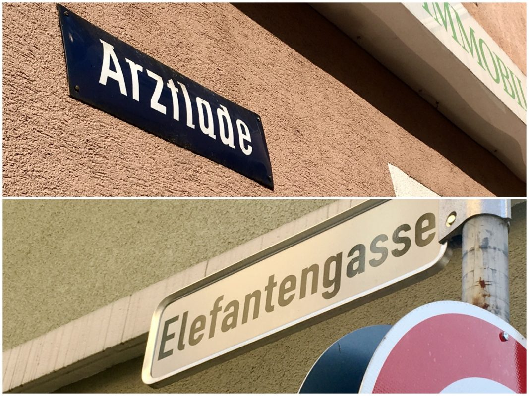 Straßennamen in Würzburg. Fotos: Pascal Höfig