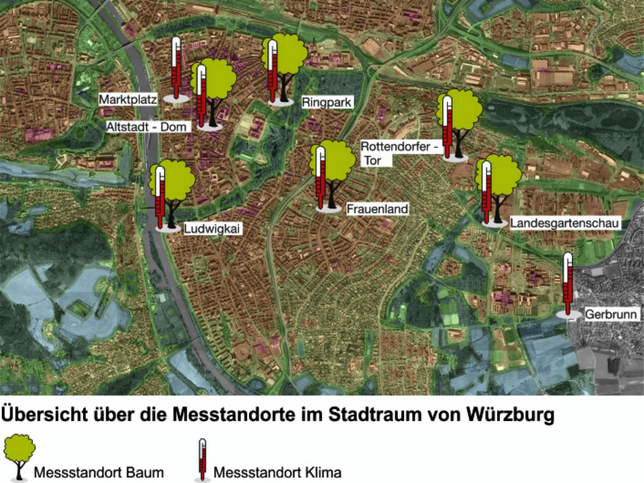 """Karte von Würzburg: Hier stehen die Messstationen des Projekts """"Klimaerlebnis Würzburg"""" Foto: Klimaerlebnis Würzburg"""