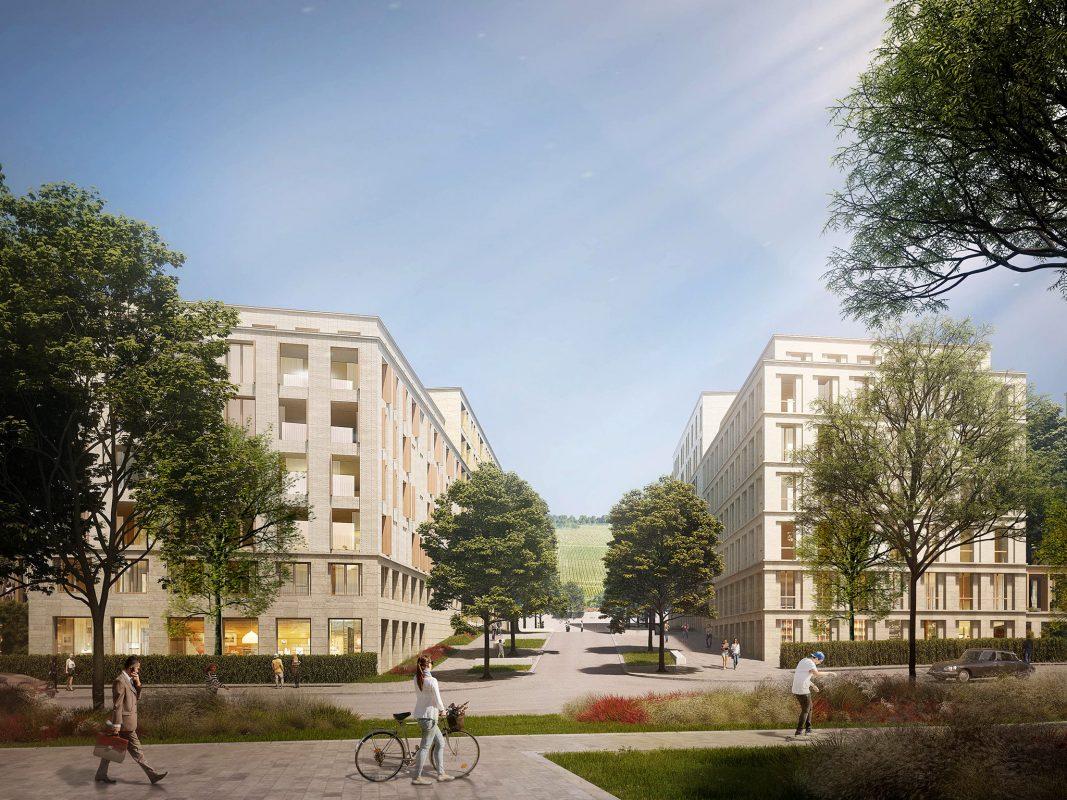 Grünes Quartier für Würzburg. Grafik: baumschlager eberle architekten