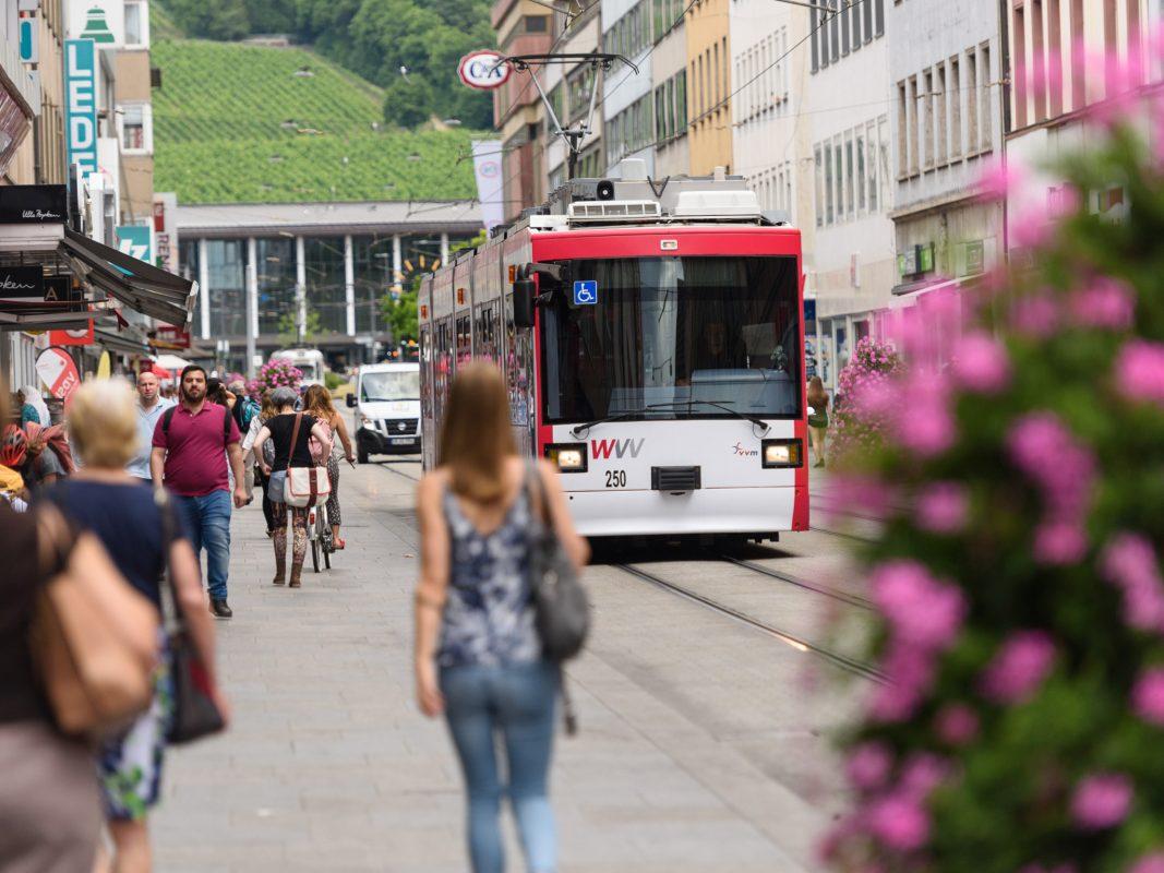 Straßenbahn in Würzburg. Foto: WVV