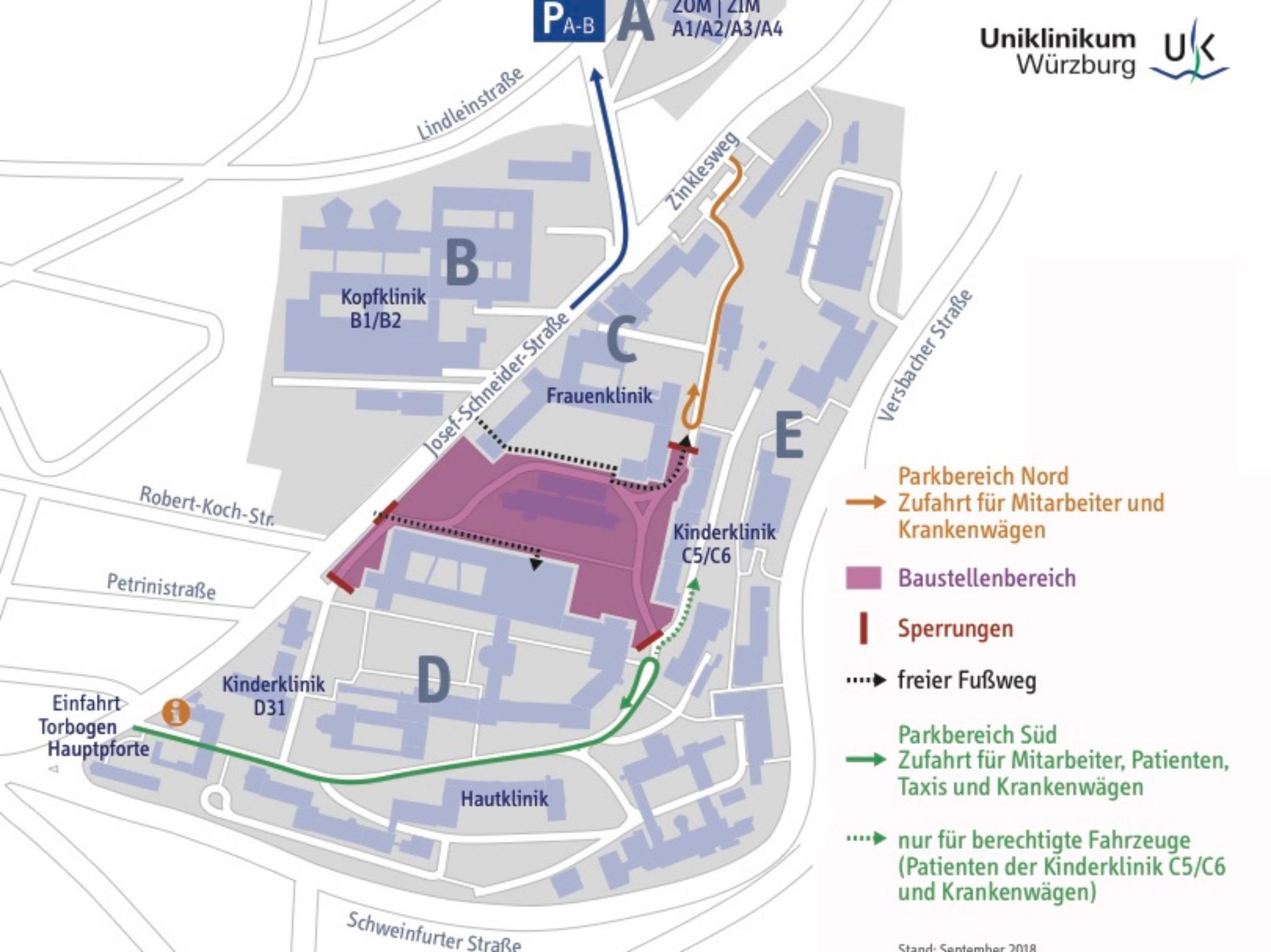 Durch die Sperrung der inneren Ringstraße ändert sich die Verkehrsführung auf dem Altcampus. Grafik: Robert Wenzl / Uniklinikum Würzburg