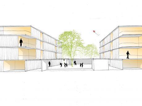 So sollen die neuen Gebäude in Holzbauweise aussehen. Skizze: Deppisch Architekten