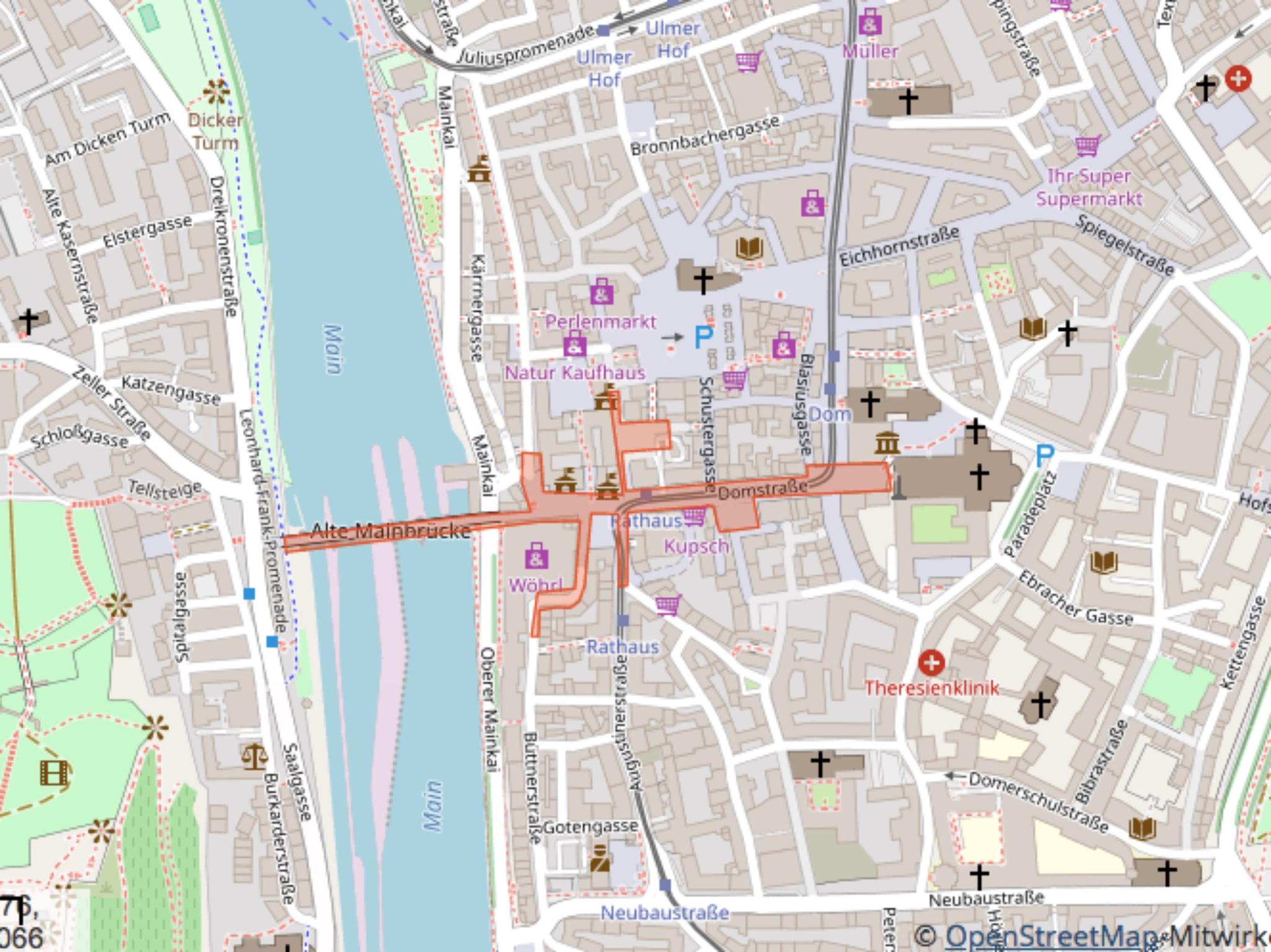 Sicherheitszone in der Silvesternacht 2018/19. Map: Stadt Würzburg; Copyright: Open Street Map