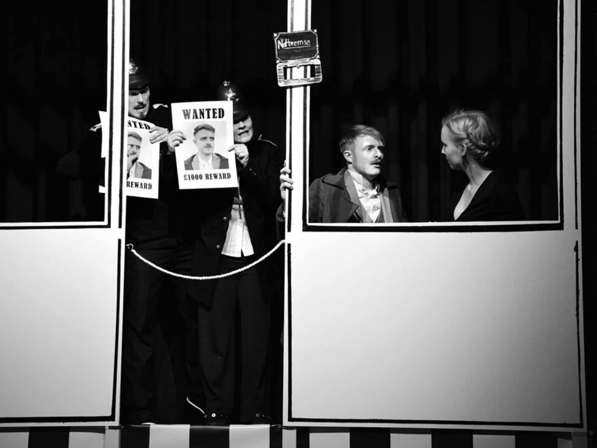 """""""Die 39 Stufen"""" dargestellt von der Studiobühne. Foto: Johanna Bode."""