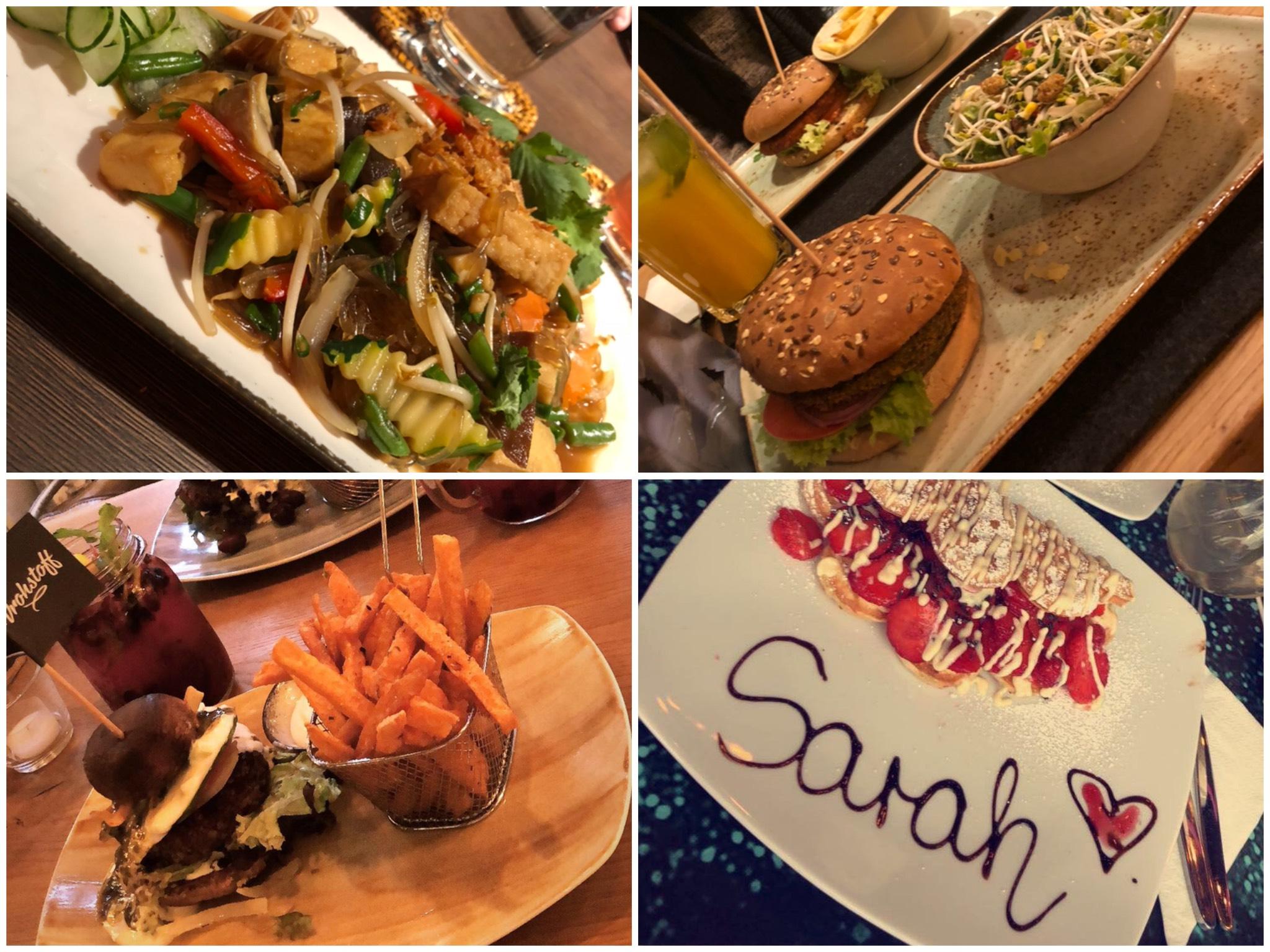 Vier der neueröffneten Restaurants in Würzburg. Von oben links nach unten rechts: Chay Viet Tadilen, Hans im Glück, Vrohstoff, Wonderwaffel Foto: Sarah Willer