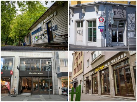 Vier der geschlossenen Lokalitäten in Würzburg. Von links oben nach rechts unten: Blauer Adler, Joe´s Cantina y Bar, the other store, Café Klug Fotos: Pascal Höfig, Dominik Ziegler