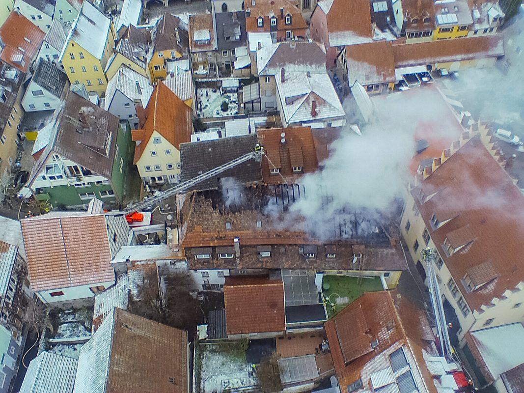 Brandort aus der Luft. Foto: Johanniter Würzburg