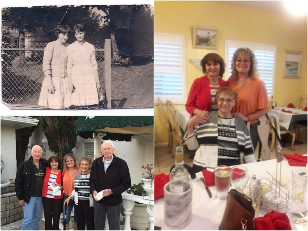 Heidi Görner als Mädchen (Bild oben links), Heidi Patterson, geb. Görner, Heido Orton und Heidi Ortons Tante Dorothy (Bild rechts), beide Familien vereint (Bild links unten). Fotos: Heidi Orton