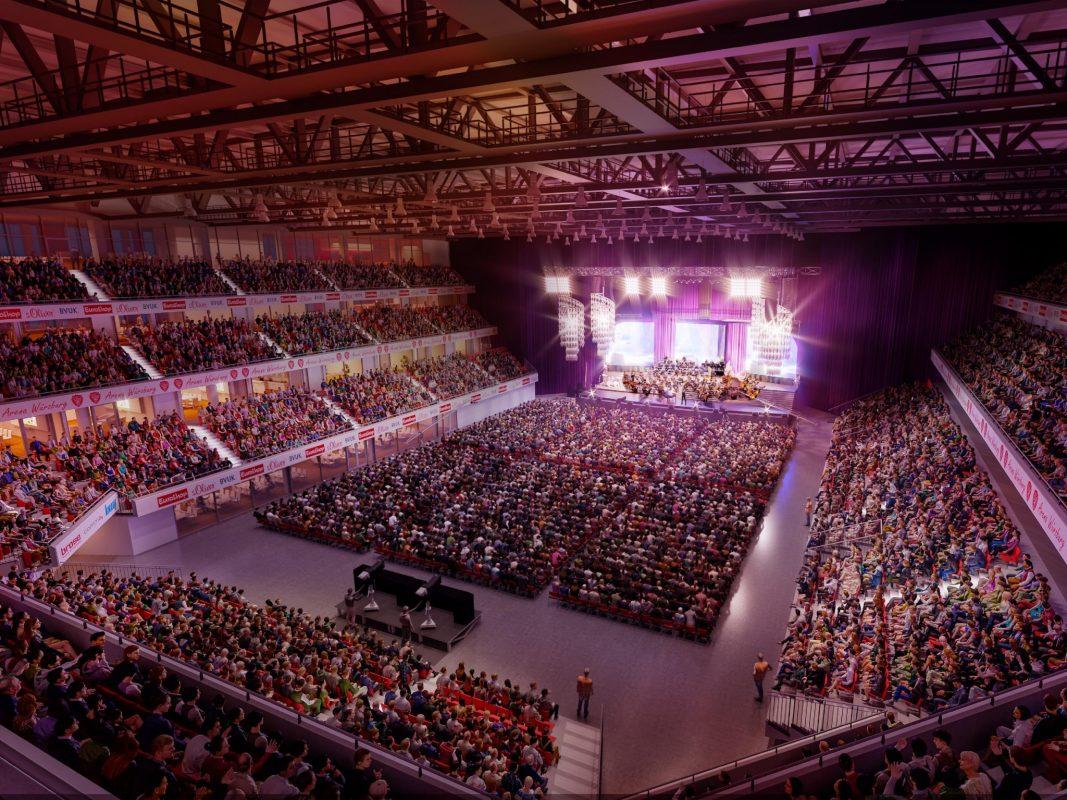 So könnte die Multifunktionsarena bei Konzerten aussehen. Bild: Arena Würzburg Projektgesellschaft mbH & Co. KG.