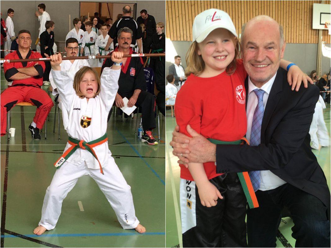Hanna wurde Deutsche Meisterin im Karate Formenlauf / KATA und von Landrat Nuß beglückwünscht. Fotos. Helmut Stark