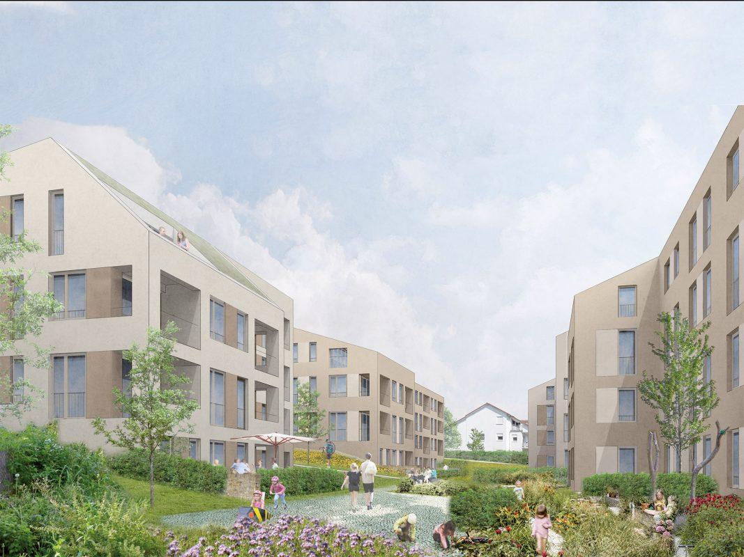 So soll das Bossiviertel aussehen. Visualisierung: Stadtbau Würzburg